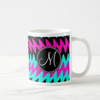 Custom Monogram Initial Hot Pink Black Teal Waves Basic White Mug