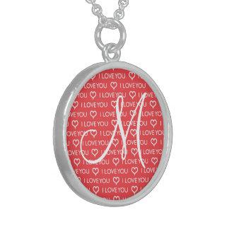 Custom Monogram Initial I Love You Heart Red Jewelry