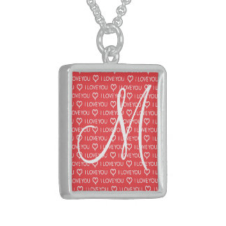 Custom Monogram Initial I Love You Heart Red Square Pendant Necklace