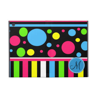 Custom Monogram Initial Neon Stripes Polka Dots Case For iPad Mini