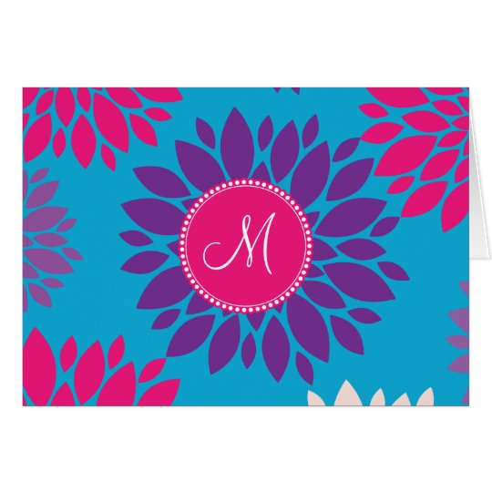 Custom Monogram Initial Pink Purple Flower on Blue Card