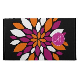 Custom Monogram Initial Purple Orange Flower Art iPad Cases