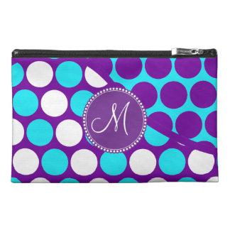 Custom Monogram Initial Teal Purple Polka Dots Travel Accessories Bags