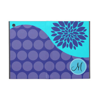 Custom Monogram Initial Teal Purple Polka Dots Cases For iPad Mini