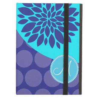 Custom Monogram Initial Teal Purple Polka Dots iPad Air Cover