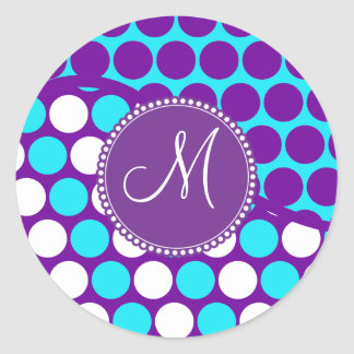 Custom Monogram Initial Teal Purple Polka Dots Round Sticker