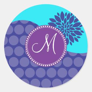 Custom Monogram Initial Teal Purple Polka Dots Classic Round Sticker