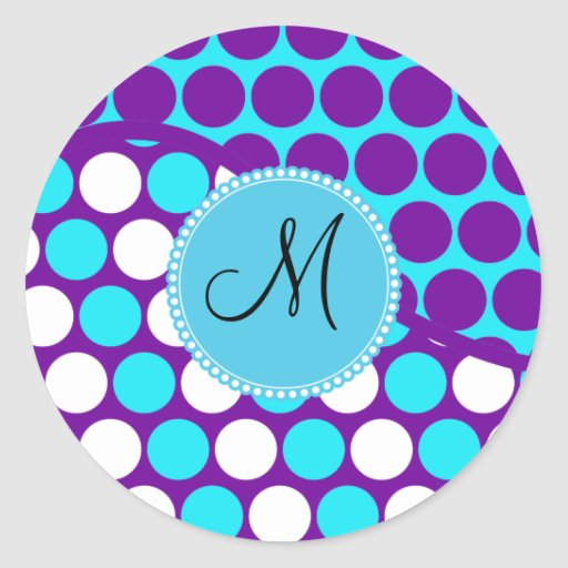 Custom Monogram Initial Teal Purple Polka Dots Round Stickers