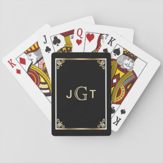 Custom Monogram Initials | Elegant Black Gold Playing Cards
