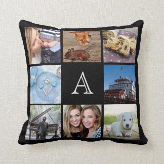 Custom Monogram Instagram Photo Collage Pillow