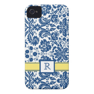 Custom Monogram iPhone4 Blue Lemon Floral Damask iPhone 4 Case-Mate Case