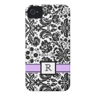 Custom Monogram iPhone4 Purple Black Floral Damask iPhone 4 Case-Mate Case