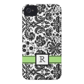 Custom Monogram iPhone 4 Lime Black Floral Damask iPhone 4 Cases