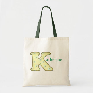 Custom Monogram K Name tote bag