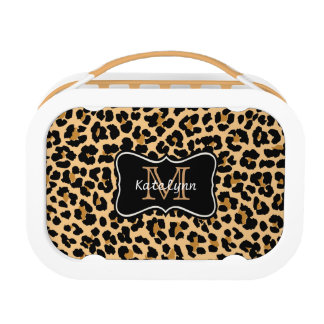 Custom Monogram Leopard Print Lunch Box