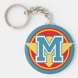 Custom Monogram Letter M Initial Basic Round Button Key Ring