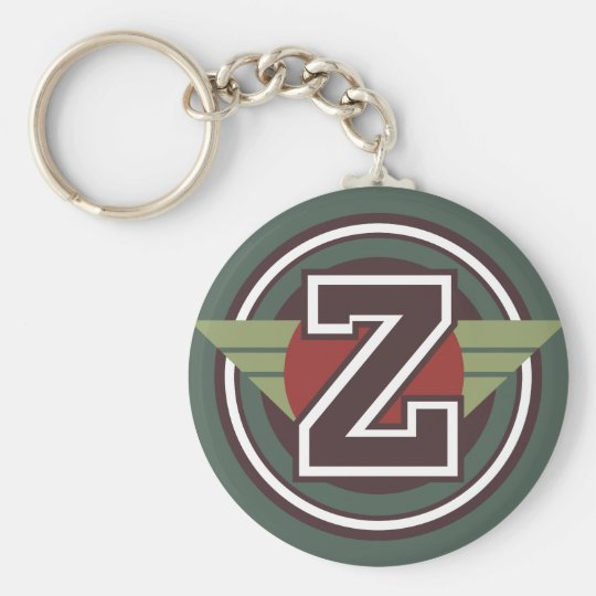 Custom Monogram Letter Z Initial Key Ring