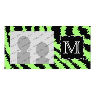 Custom Monogram Lime Green and Black Zebra Pattern Picture Card