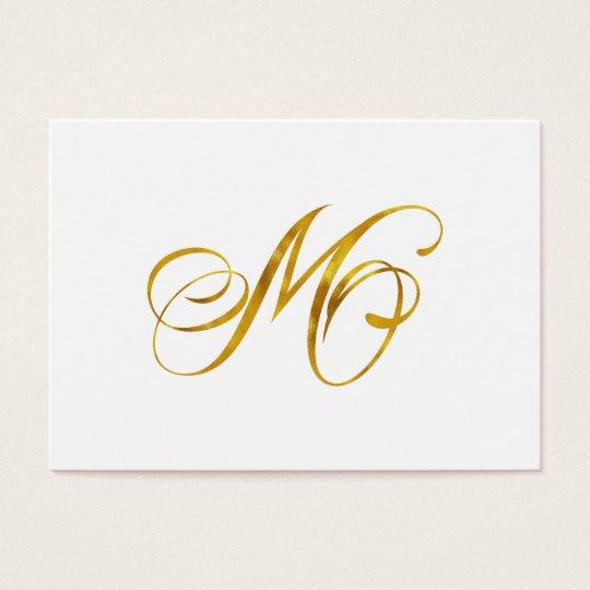 Custom Monogram M Faux Gold Foil Monograms Initial Business Card