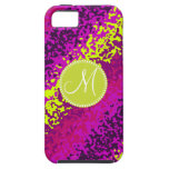 Custom Monogram Magenta Pink Paint Splatters iPhone 5 Covers