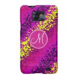 Custom Monogram Magenta Pink Paint Splatters Galaxy SII Cover