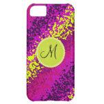 Custom Monogram Magenta Pink Paint Splatters iPhone 5C Cover