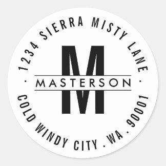 Custom Monogram Modern Circle Return Address Label Round Sticker