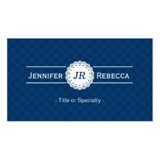 Custom Monogram - Modern Classy Blue and White Business Cards