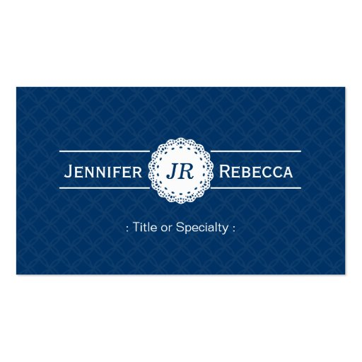 Custom Monogram - Modern Classy Blue and White Business Cards