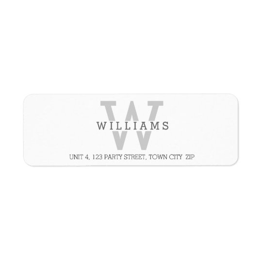 CUSTOM MONOGRAM modern simple initial name grey Return Address Label
