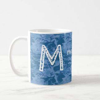 Custom monogram & name Blue Camouflage mugs