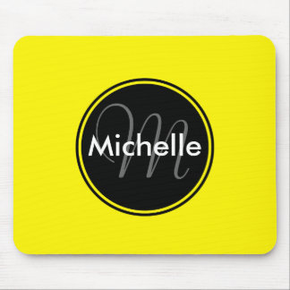 Custom Monogram Name Circle Yellow Mouse Mat