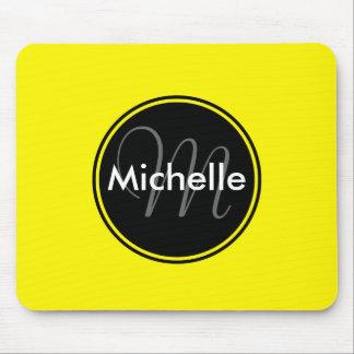 Custom Monogram Name Circle Yellow Mouse Pad