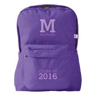 Custom monogram, name & class year backpack