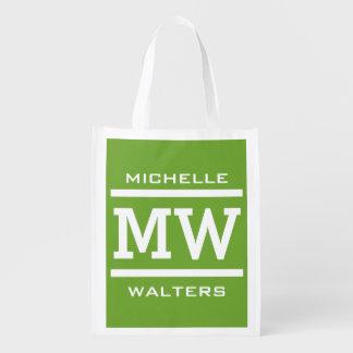 Custom monogram, name & color reusable bag