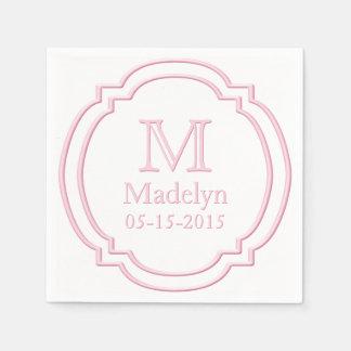 Custom Monogram Name Date White Pastel Pink Frame Paper Napkins