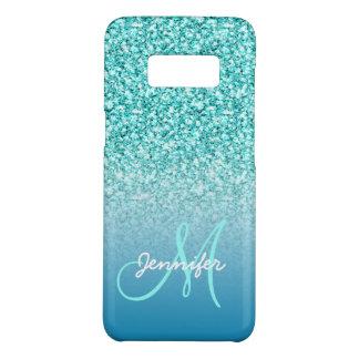 Custom Monogram Name Girly Teal Faux Glitter Case-Mate Samsung Galaxy S8 Case