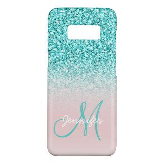 Custom Monogram Name Girly Teal Glitter Pink Case-Mate Samsung Galaxy S8 Case