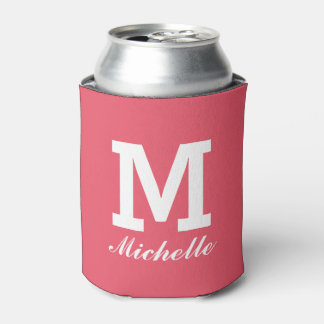 Custom monogram name initial coral can coolers