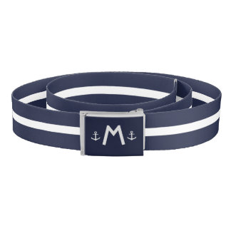 Custom Monogram Nautical Anchor Belt