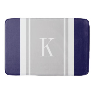 Custom Monogram Navy Blue Grey Stripes Pattern Bath Mat