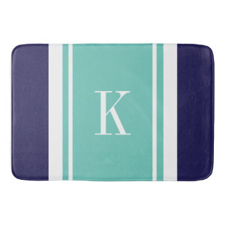 Custom Monogram Navy Teal Mint Stripes Pattern Bath Mat