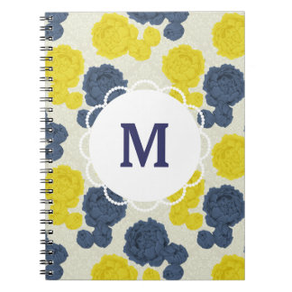 Custom Monogram Navy & Yellow Vintage Notebook