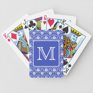 Custom Monogram, on Blue and White Damask Pattern. Bicycle Playing Cards