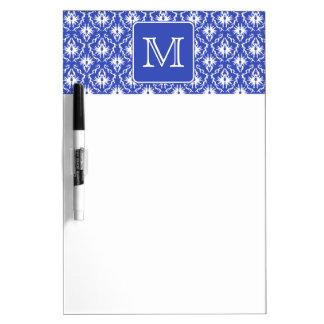 Custom Monogram, on Blue and White Damask Pattern. Dry Erase Board