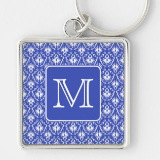 Custom Monogram, on Blue and White Damask Pattern. Key Ring