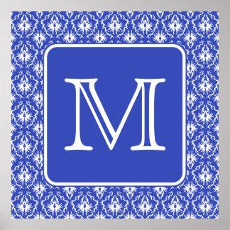 Custom Monogram on Blue and White Damask Pattern Poster