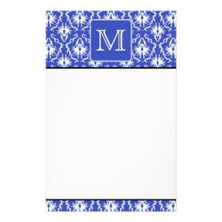 Custom Monogram, on Blue and White Damask Pattern. Stationery