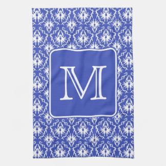 Custom Monogram, on Blue and White Damask Pattern. Tea Towel