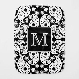 Custom Monogram on Monochrome Paisley Pattern. Burp Cloth